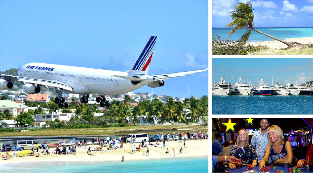 air france landing over maho beach